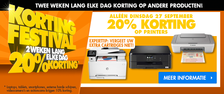 20% korting op printers!