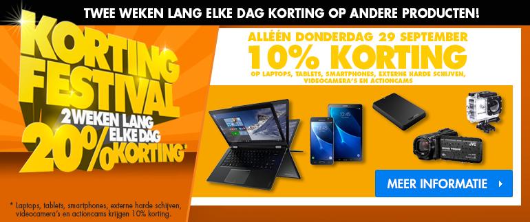 10% korting op smartphones, laptops, tablets!